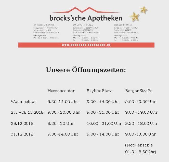 Öffnungszeiten Brocks`sche Apotheken  2018